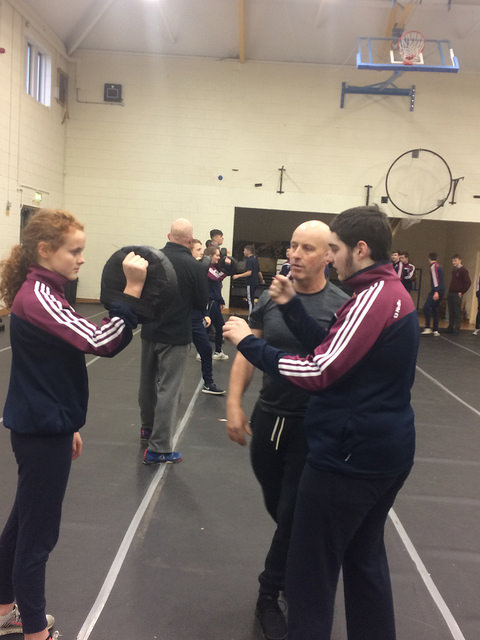 Pollyanna Cullen and Shane Jordan are put through their paces at the Self Defence course recently